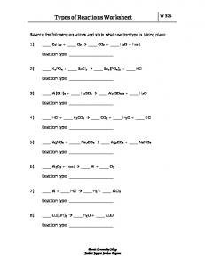Types of Reactions Worksheet - MAFIADOC.COM