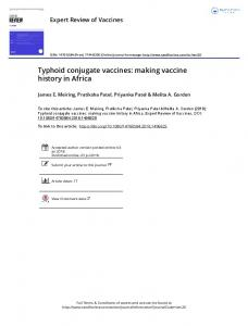Typhoid conjugate vaccines: making vaccine history