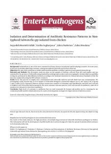 typhoid Salmonella spp isolated from chicken - International Journal of ...