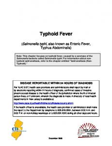 Typhoid - State of New Jersey