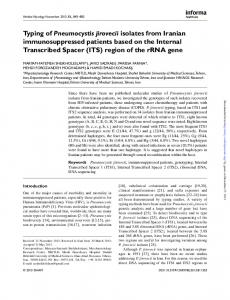 Typing of Pneumocystis jirovecii isolates from Iranian ...