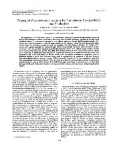 Typing of Pseudomonas cepacia by Bacteriocin Susceptibility and ...