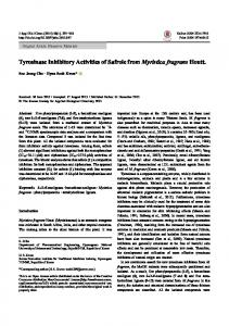 Tyrosinase Inhibitory Activities of Safrole from ... - ScienceCentral