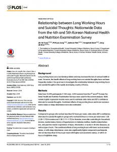 U (2015) Relationship between Long Working Hours and Suicidal ...
