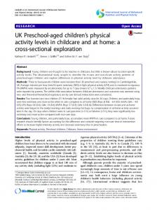 UK Preschool-aged children's physical activity levels in childcare and ...