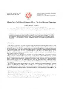 Ulam's Type Stability of Hadamard Type Fractional ... - CiteSeerX