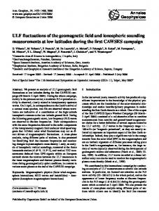 ULF fluctuations of the geomagnetic field and ionospheric sounding ...