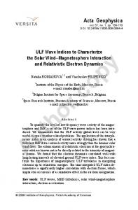 ULF Wave Indices to Characterize the Solar Wind - UCLA IGPP