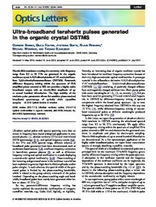Ultra-broadband terahertz pulses generated in the ... - OSA Publishing