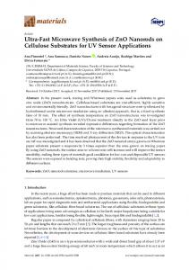 Ultra-Fast Microwave Synthesis of ZnO Nanorods on Cellulose ... - MDPI