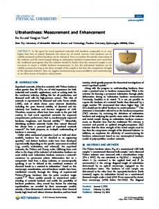 Ultrahardness: Measurement and Enhancement - ACS Publications
