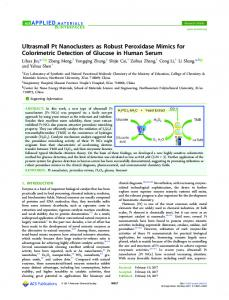 Ultrasmall Pt Nanoclusters as Robust Peroxidase ... - ACS Publications