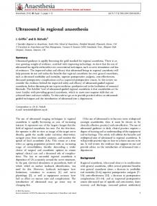 Ultrasound in regional anaesthesia - Wiley Online Library