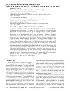 Ultrasound-induced lung hemorrhage: Role of ... - Semantic Scholar