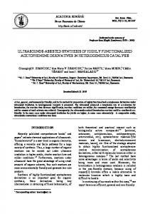 ultrasounds-assisted synthesis of highly functionalized acetophenone ...