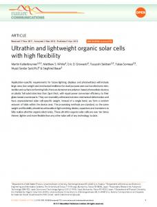 Ultrathin and lightweight organic solar cells with high flexibility - Nature
