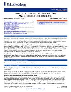 Umbilical Cord Blood - Oxford Health Plans