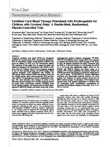 Umbilical Cord Blood Therapy Potentiated with ... - BioMedSearch