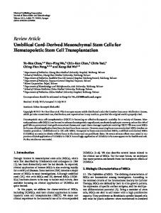 Umbilical Cord-Derived Mesenchymal Stem Cells for Hematopoietic