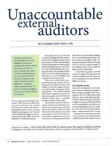 Unaccountable external auditors - School of Social Ecology