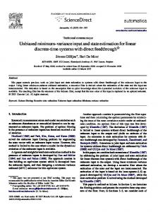 Unbiased minimum-variance input and state estimation ... - KU Leuven