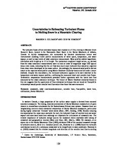 Uncertainties in Estimating Turbulent Fluxes to Melting Snow in a ...