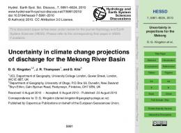Uncertainty in projections for the Mekong