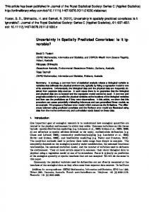 Uncertainty in Spatially Predicted Covariates - Hideyasu SHIMADZU