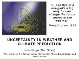 uncertainty in weather and climate prediction - Semantic Scholar