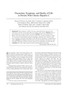 Uncertainty, Symptoms, and Quality of Life in Persons With Chronic ...