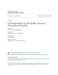 Uncompensated Care and Quality Assurance