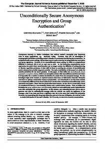 Unconditionally Secure Anonymous Encryption ... - Semantic Scholar