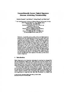Unconditionally Secure Digital Signature Schemes ... - Springer Link