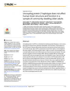 Uncoupling protein 2 haplotype does not affect human brain ... - PLOS