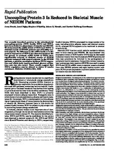 Uncoupling protein 3 is reduced in skeletal muscle of NIDDM patients.