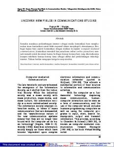 UNCOVER NEW FIELDS IN COMMUNICATIONS ... - Journal - Unair