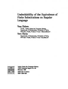 Undecidability of the Equivalence of Finite Substitutions ... - CiteSeerX