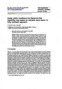 Under which conditions the Benjamin-Feir instability may spawn an ...