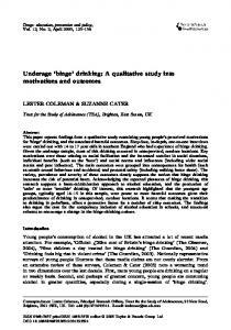 Underage 'binge' drinking: A qualitative study ... - Taylor & Francis Online