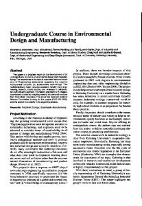 Undergraduate Course in Environmental Design and Manufacturing