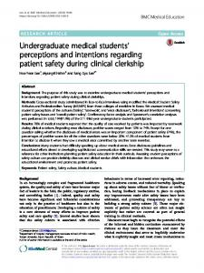 Undergraduate medical students' perceptions and intentions ...