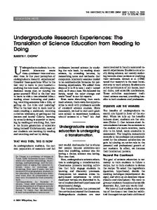 Undergraduate research experiences: The ... - Wiley Online Library