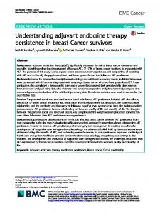 Understanding adjuvant endocrine therapy persistence ... - BMC Cancer