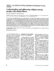Understanding and addressing religion among people with mental ...