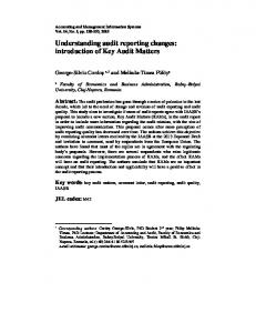 Understanding audit reporting changes: introduction of Key Audit ...