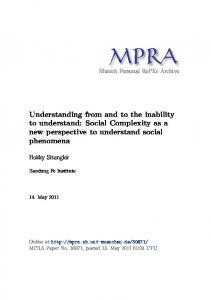 Understanding from and to the inability to understand: Social ...