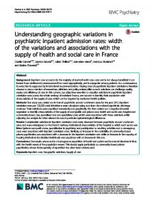 Understanding geographic variations in psychiatric ... - BMC Psychiatry
