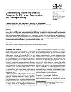 Understanding Intentions: Distinct Processes for Mirroring ...