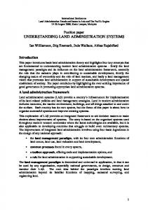 UNDERSTANDING LAND ADMINISTRATION SYSTEMS
