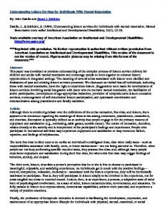 Understanding Leisure Services for Individuals With Mental ...